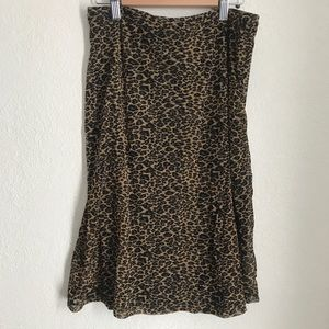 Express cheetah leopard midi skirt medium